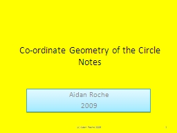 Co-ordinate Geometry of the Circle