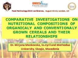 COMPARATIVE INVESTIGATIONS ON NUTRITIONAL COMPOSITIONS OF O