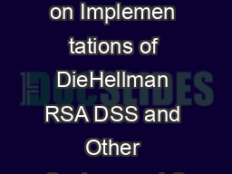 Timing ttac ks on Implemen tations of DieHellman RSA DSS and Other Systems aul C