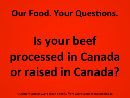 Our Food. Your Questions.