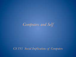 Computers and Self