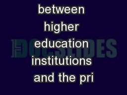 Interface between higher education institutions and the pri