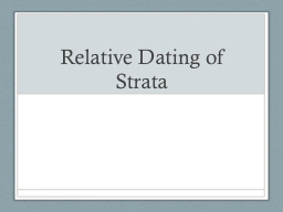 Relative Dating of Strata