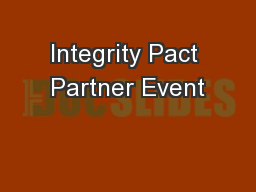 Integrity Pact Partner Event