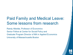 Paid Family and Medical PowerPoint PPT Presentation
