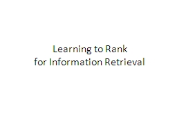 Learning to Rank