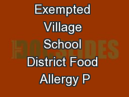 Indian Hill Exempted Village School District Food Allergy P