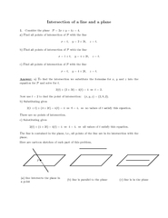 In tersection of line and plane Consider the plane