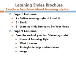 Learning Styles Brochure