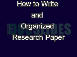 How to Write and Organized Research Paper