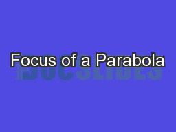 Focus of a Parabola