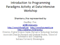 Introduction to Programming Paradigms Activity at Data Inte PowerPoint PPT Presentation