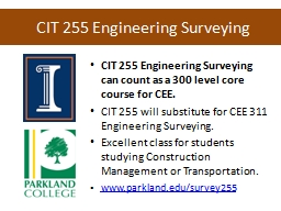 CIT 255 Engineering Surveying PowerPoint PPT Presentation