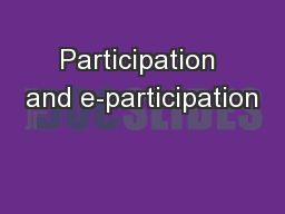 Participation and e-participation