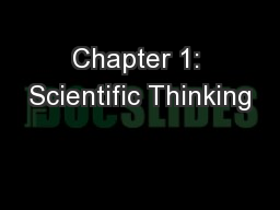 Chapter 1: Scientific Thinking