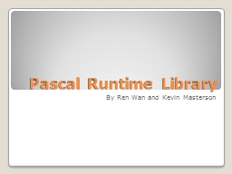 Pascal Runtime Library