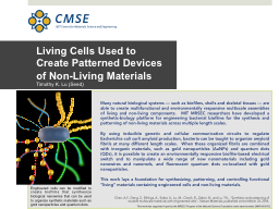 Living Cells Used to Create Patterned Devices of Non-Living PowerPoint PPT Presentation