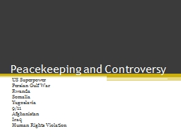 Peacekeeping and Controversy PowerPoint PPT Presentation