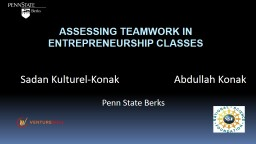 Assessing Teamwork in Entrepreneurship Classes