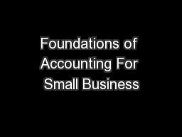 Foundations of Accounting For Small Business