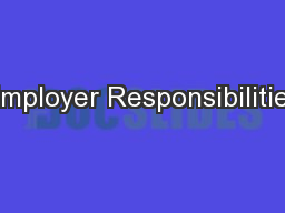 Employer Responsibilities