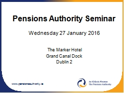 Pensions Authority Seminar PowerPoint PPT Presentation