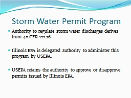 Storm Water Permit Program