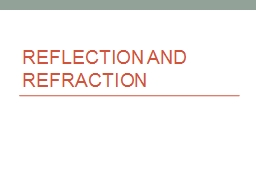 Reflection and Refraction PowerPoint PPT Presentation