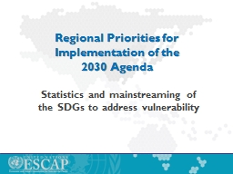 Regional Priorities for Implementation of the