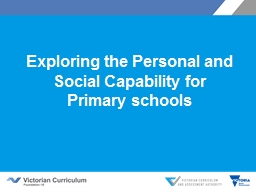Exploring the Personal and Social Capability for Primary sc