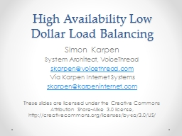 High Availability Low Dollar Load Balancing PowerPoint PPT Presentation
