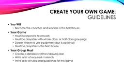Create your own game: PowerPoint PPT Presentation