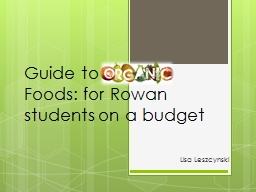 Guide to Organic Foods: for Rowan students on a budget