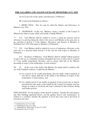 THE SALARIES AND ALLOWANCES OF MINISTERS ACT  An Act t