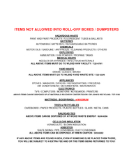 ITEMS NOT ALLOWED INTO ROLLOFF BOXES  DUMPSTERS HAZARD