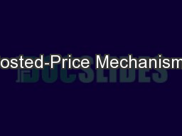 Posted-Price Mechanisms