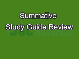 Summative Study Guide Review