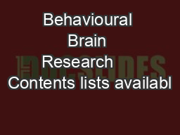 Behavioural Brain Research     Contents lists availabl