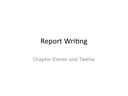 Report Writing PowerPoint PPT Presentation