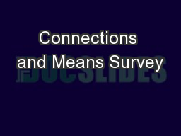 Connections and Means Survey