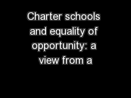 Charter schools and equality of opportunity: a view from a