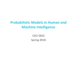 Probabilistic Models in Human and Machine Intelligence