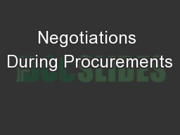 Negotiations During Procurements
