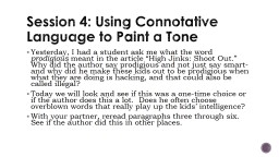 Session 4: Using Connotative Language to Paint a Tone