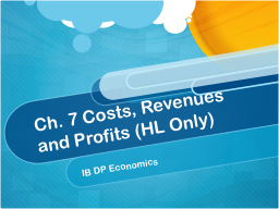 Ch. 7 Costs, Revenues and Profits (HL Only) PowerPoint PPT Presentation