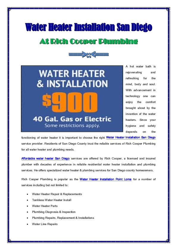 Affordable Water Heater Installation San Diego