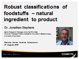 Robust classifications of foodstuffs – natural ingredient