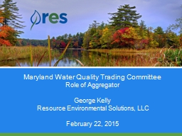 Maryland Water Quality Trading Committee PowerPoint PPT Presentation