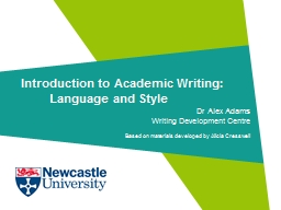 Introduction to Academic Writing: Language and Style