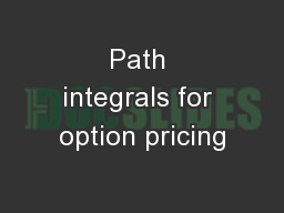 Path integrals for option pricing